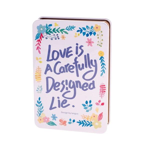 Plechový zápisník Languo Love, bílo-modrý