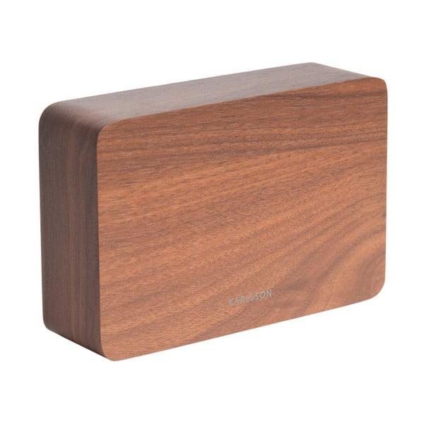 Budík v dřevěném dekoru Karlsson Cube, 15 x 10 cm