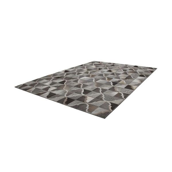 Šedý kožený koberec Eclipse, 80x150cm