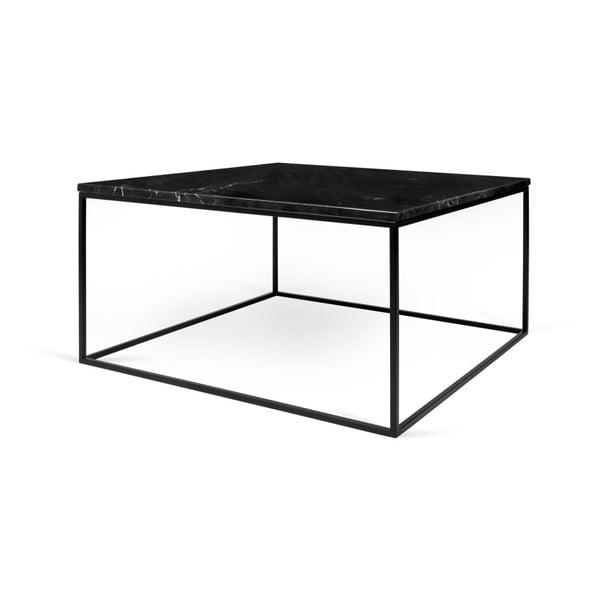Černý mramorový konferenční stolek s černými nohami TemaHome Gleam, 75 x 75 cm