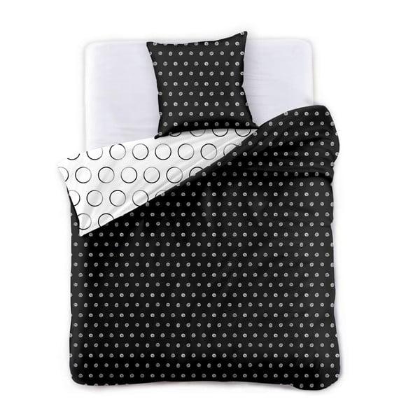 Lenjerie de pat dublu DecoKing Hypnosis Darknight, 200 x 220 cm, alb - negru