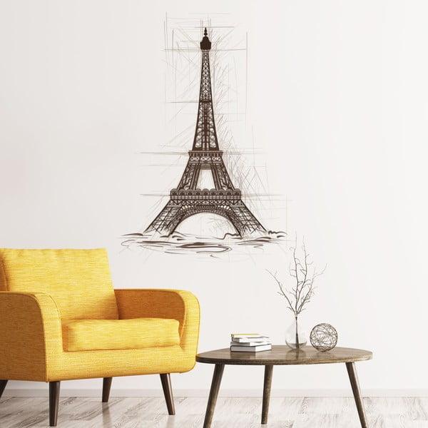 Naklejka ścienna Ambiance Wall Decal Eiffel Tower Drawing, 85x60 cm