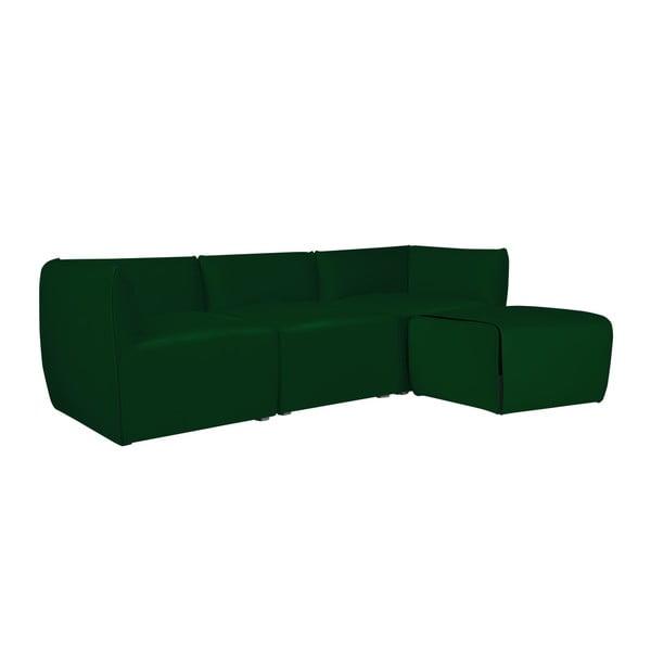 Zelená modulová třímístná pohovka s lenoškou Norrsken Ebbe