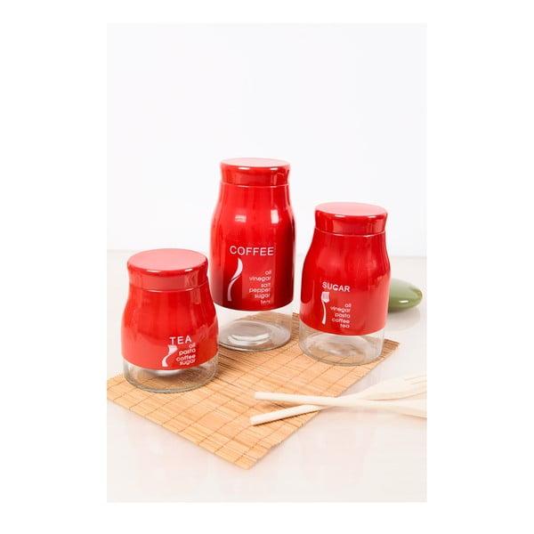 Sada tří nádobek na kávu i olej, červená