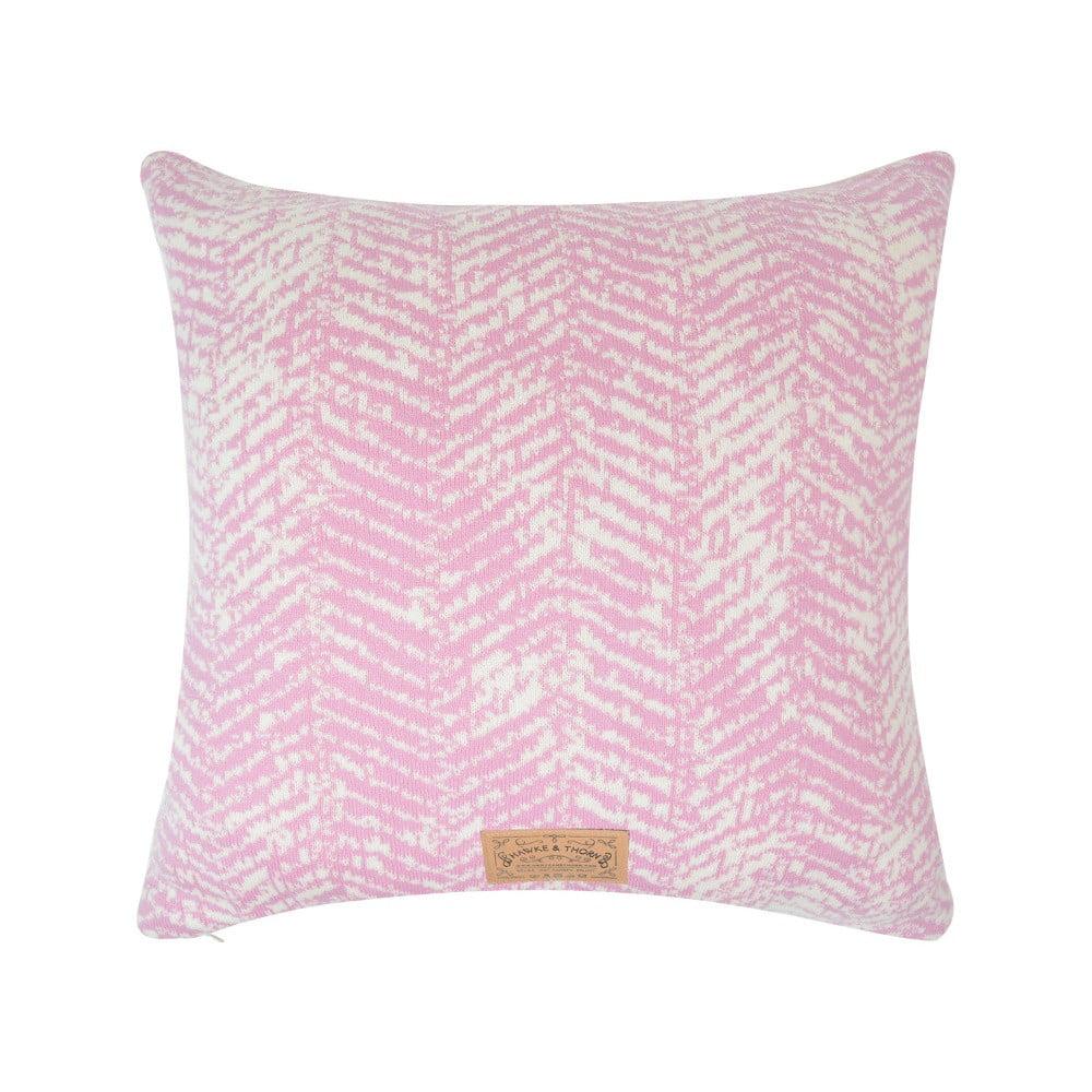 Růžový povlak na polštář Hawke&Thorn Herringbone, 50x50cm