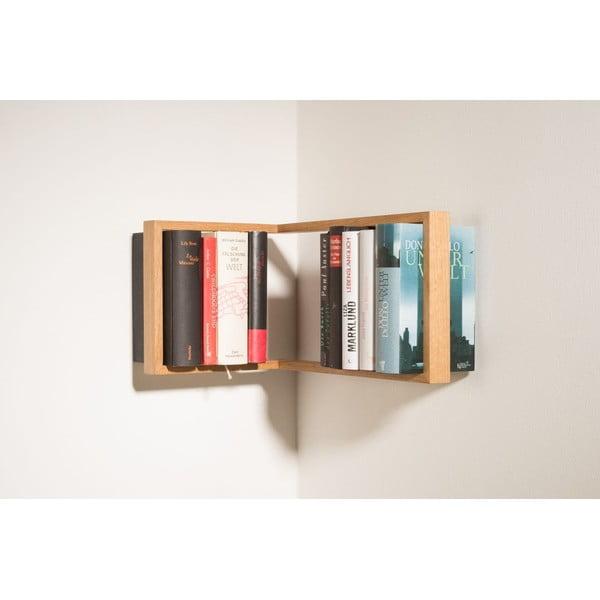 Rohová knižní police z dubového dřeva das kleine b b1, výška22cm