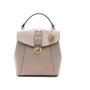 Béžovorůžový kožený dámský batoh f.e.v. by Francesca E. Versace Rismo