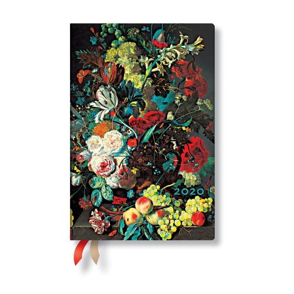 Agendă pentru anul 2020, cu copertă tare Paperblanks Van Huysum, 160 file, multicolor