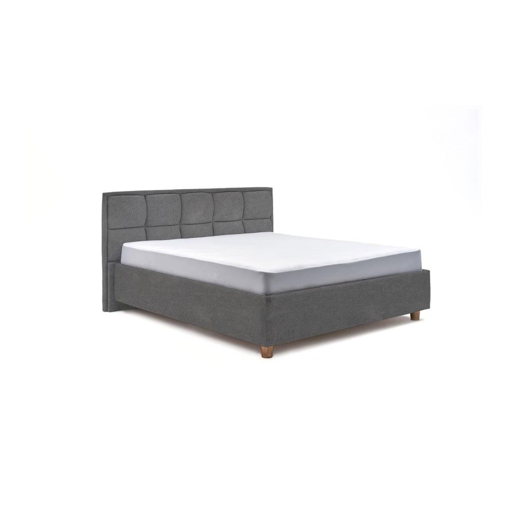 Světle šedá dvoulůžková postel s úložným prostorem ProSpánek Karme, 160 x 200 cm