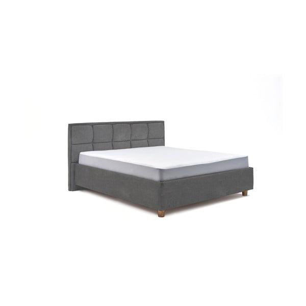 Světle šedá dvoulůžková postel s úložným prostorem ProSpánek Karme, 180 x 200 cm