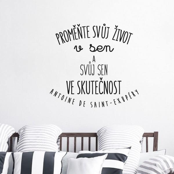 Samolepka na zeď s citátem Ambiance Proměňte svůj život v sen