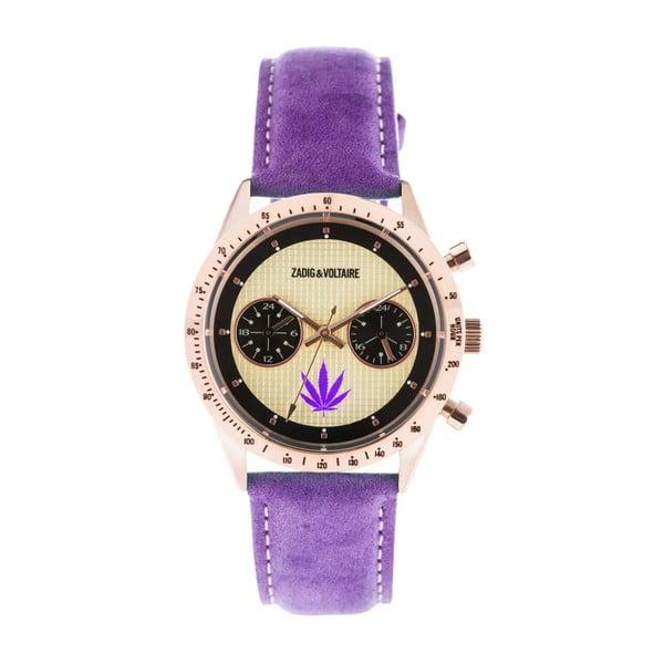 Dámské hodinky s fialovým koženým páskem Zadig & Voltaire Teddy
