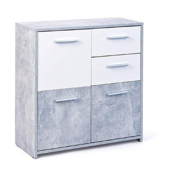 Bílo-šedá komoda s 2 šuplíky Evergreen House Matt