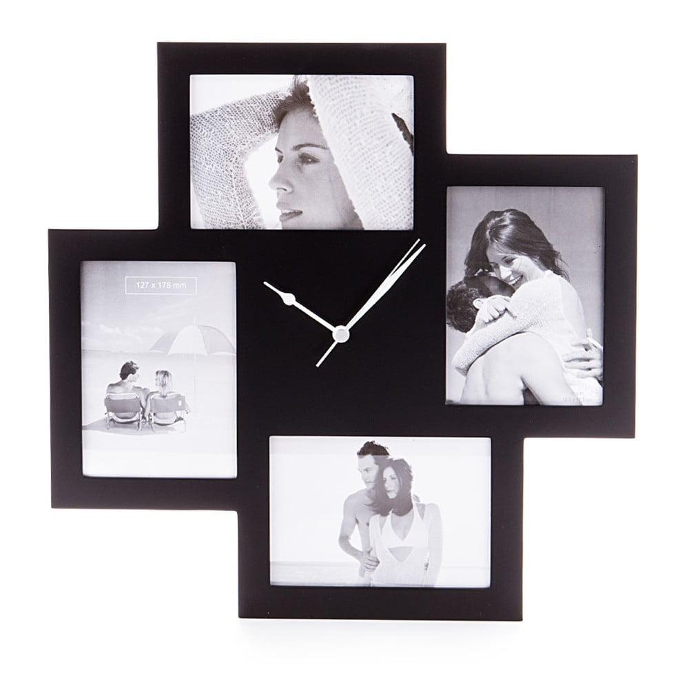 Černé nástěnné hodiny s fotorámečky Tomasucci Collage