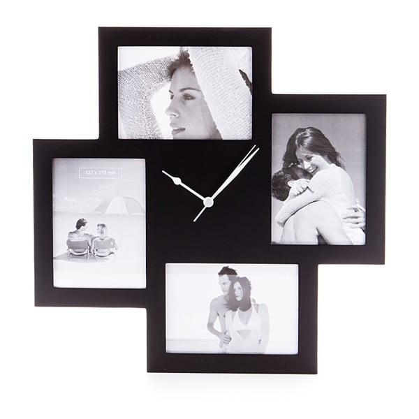 Čierne nástenné hodiny s fotorámikmi Tomasucci Collage
