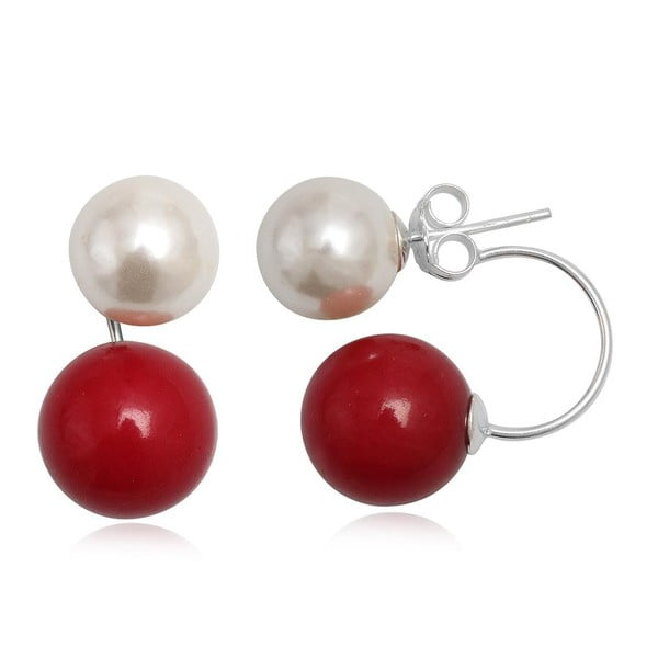 Náušnice Two Pearls Red and White