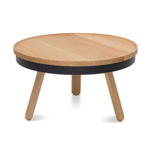 Přírodno-černý odkládací stolek s úložným prostorem Woodendot Batea M