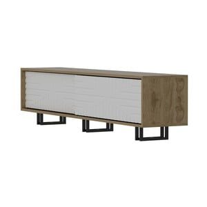 TV stolek v dekoru dubového dřeva s bílými detaily Askal White
