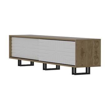Comodă TV cu aspect de lemn de stejar Zena Home, natural-alb