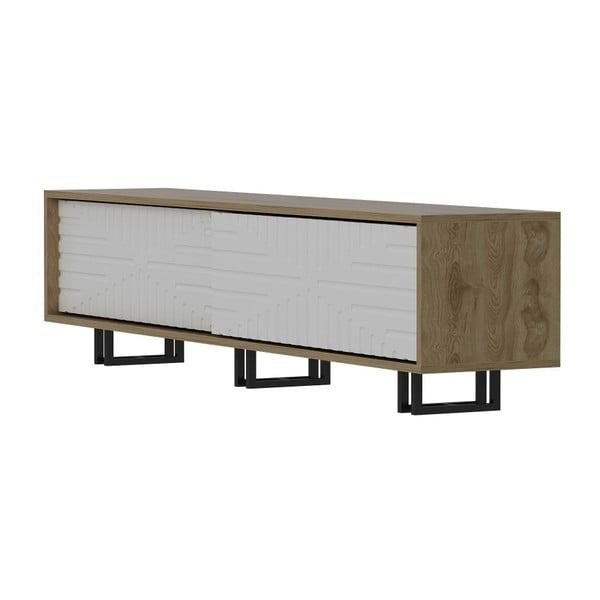 Szafka pod TV w dekorze dębowego drewna z białymi detalami Askal White