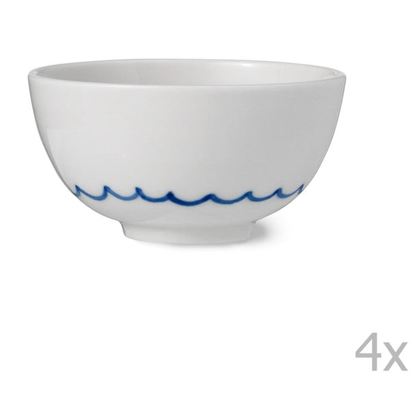 Sada 4 ručně vyráběných porcelánových misek Anne Black Agate, výška 4cm
