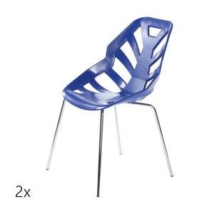 Set 2 modrých židlí Ninja, chromové nohy