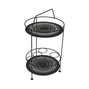 Černý zahradní barový stolek Fermob Montmartre, Ø 40 cm