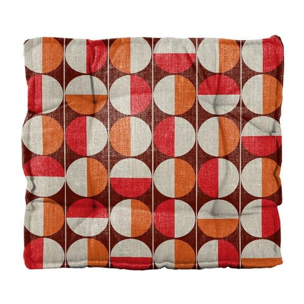 Pernă de scaun din amestec de in Linen Square Circles, 37 x 37 cm