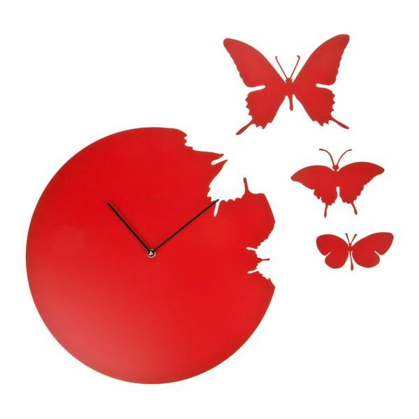 Designové hodiny Butterfly Red, 40 cm