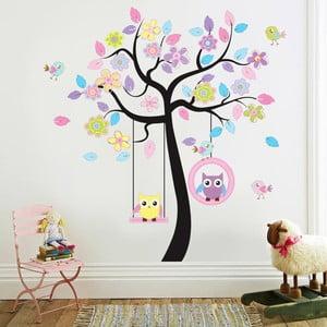 Samolepka na zeď Barevný strom a sova, 180x120 cm