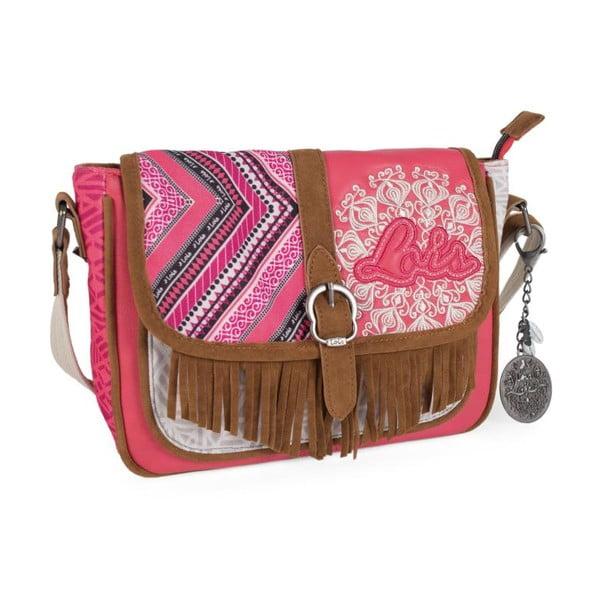 Růžovo-bílá kabelka Lois, 26 x 20 cm