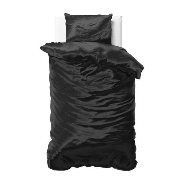Čierne obliečky zo saténového mikroperkálu na jednolôžko Sleeptime, 140 x 220 cm