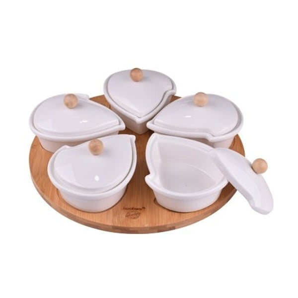 Sada 5 porcelánových misek s víky na bambusovém podnosu Bambum Saldado