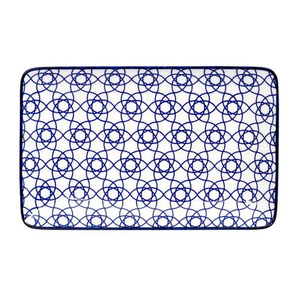 Modrý porcelánový talíř Tokyo Design Studio Rect, 21 x 13,5 cm
