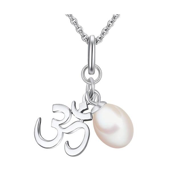 Stříbrný náhrdelník s přívěskem a perlou Chakra Pearls Om, 42 cm