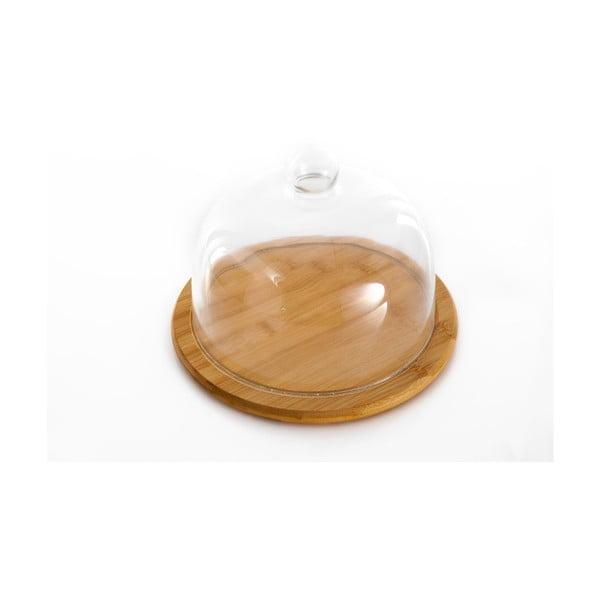 Platou din bambus și capac din sticlă Bambum Focus