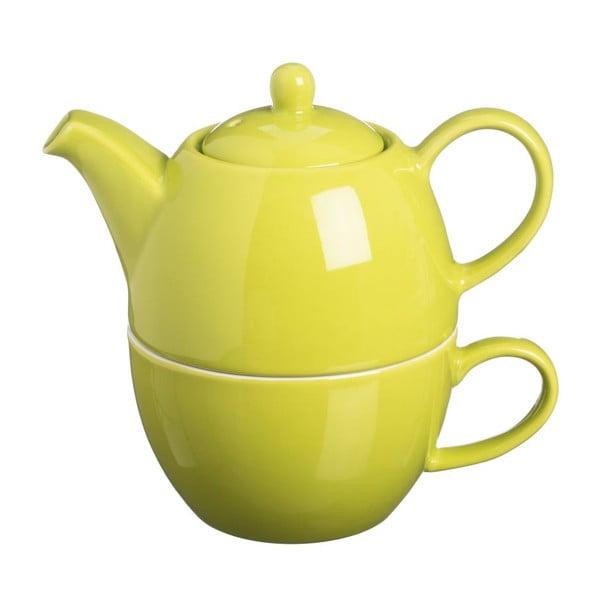 Čajová konvice s hrnkem Tea For One Bright Green, 400 ml