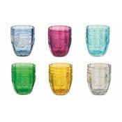 Sada 6 barevných sklenic na vodu Villa d'Este Bicchieri Syrah, 235 ml