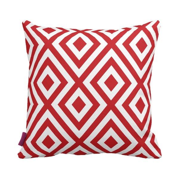 Červenobílý polštář Geometric Red, 43x43cm