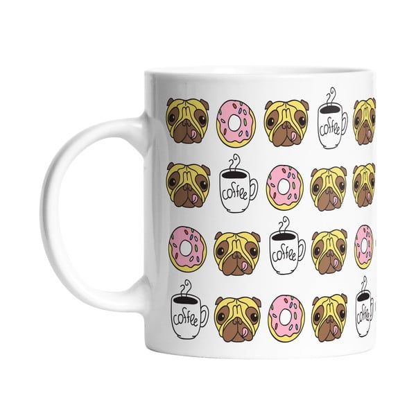 Keramický hrnek Butter Kings Coffee Time With Pug, 330 ml