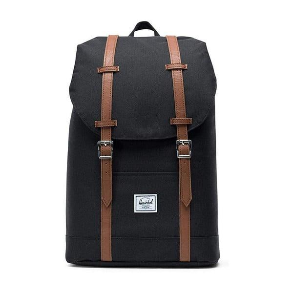 Černý batoh s popruhy ze syntetické kůže Herschel Retreat