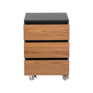 Tmavě hnědá skříňka na kolečkách se třemi šuplíky We47 Renfrew Pro