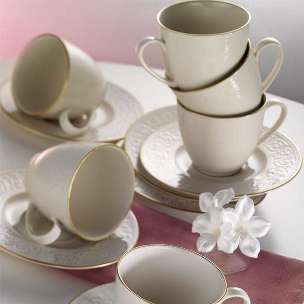 Zestaw 6 porcelanowych filiżanek z podstawkami Simple Gold