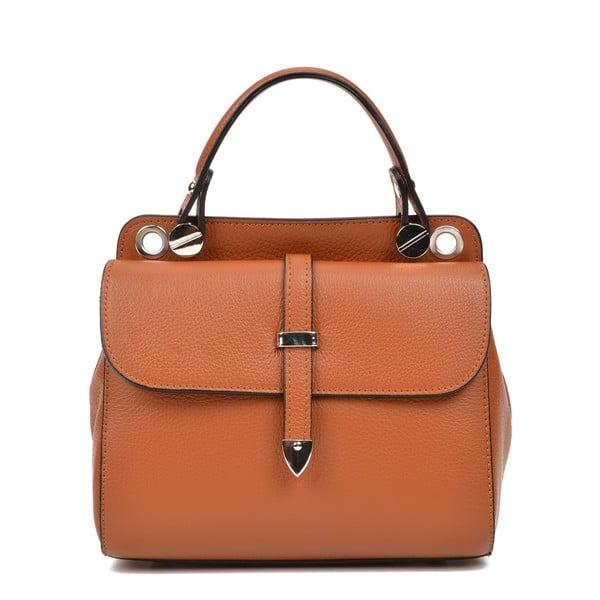 Hnědá kožená kabelka s 2 kapsami Carla Ferreri