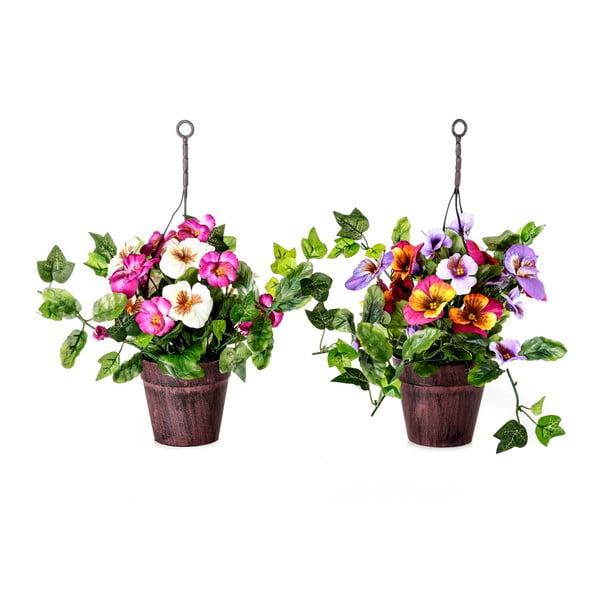 Sada 2 umělých květin v květináčku Unimasa Pensamie