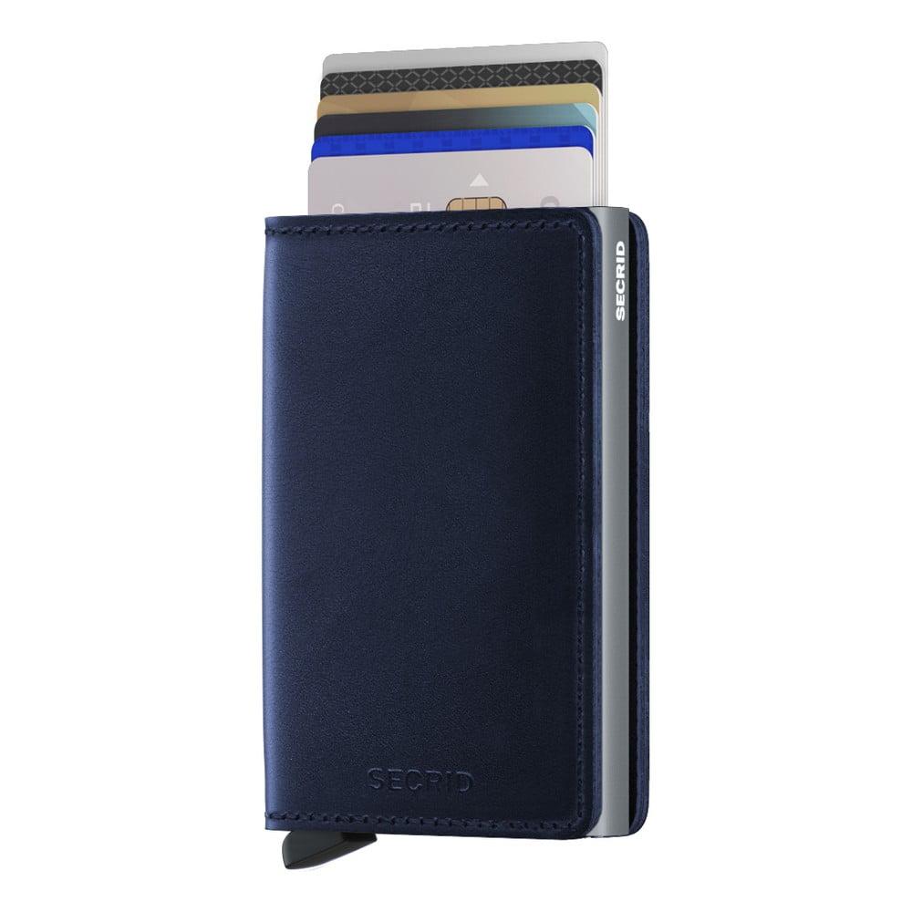Modrá kožená peněženka s pouzdrem na karty Secrid Slim