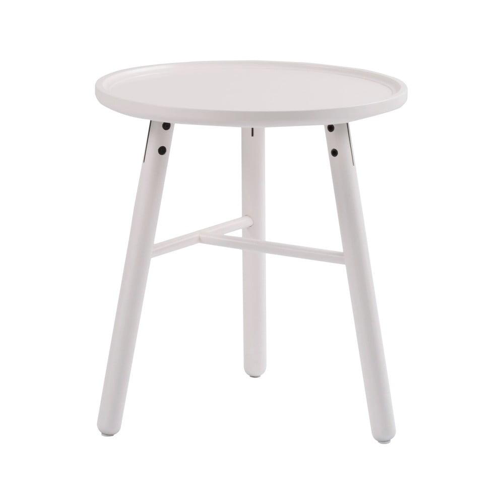 Bílý dubový odkládací stolek Folke Saga, ⌀ 50 cm