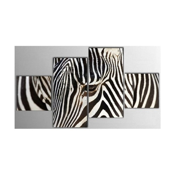 4dílný obraz Zebra, 50x100 cm