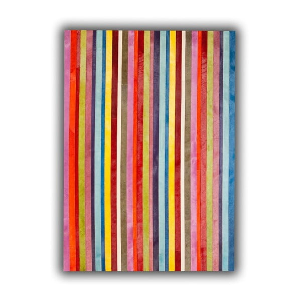 Koberec z pravé kůže Vertical Stripes, 140x200 cm