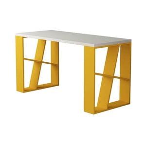 Bílo-žlutý psací stůl Honey